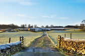Frosty Farm Lane Hawkshead, English Lake District — Stock Photo