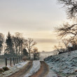 Frozen Farm Track At Sunrise — Stock Photo