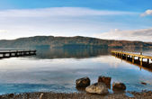Picturesque Lake With Wooden Jetties — Stock Photo