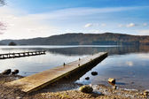 Jetty Over Misty Lake, Windermere — Stock Photo
