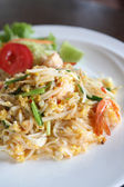 Thai food padthai fried noodle with shrimp — Stock Photo