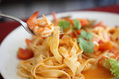 Seafood pasta with tomato sauce — Stock Photo