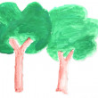 Tree by watercolour - Stock Photo