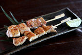 Japanese food chicken Yakitori grilled incloseup — Stock Photo
