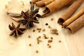 Chinese herbal medicine on wood background — Stock Photo