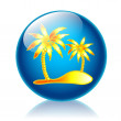 Palm beach glossy icon — Stock Photo