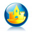 Sandcastle glossy icon — Stock Photo