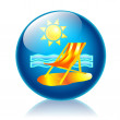 Beach glossy icon - Foto Stock