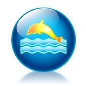 Dolphin glossy icon — Stock Photo