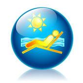 Holiday tan glossy icon — Foto de Stock