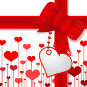 Valentine's day present with red bow — Stock Photo