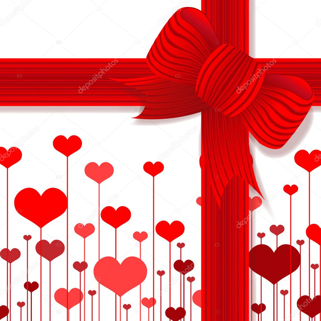 Illustration Valentine's day,present's decoration with red bow — Stock Photo #8499958