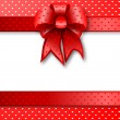 Red gift bow card note — Stock Photo