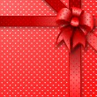 Red gift bow card note — ストック写真