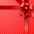 Stock Photo: Red gift bow card note