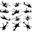 Stock Vector: Helicopter silhouettes set