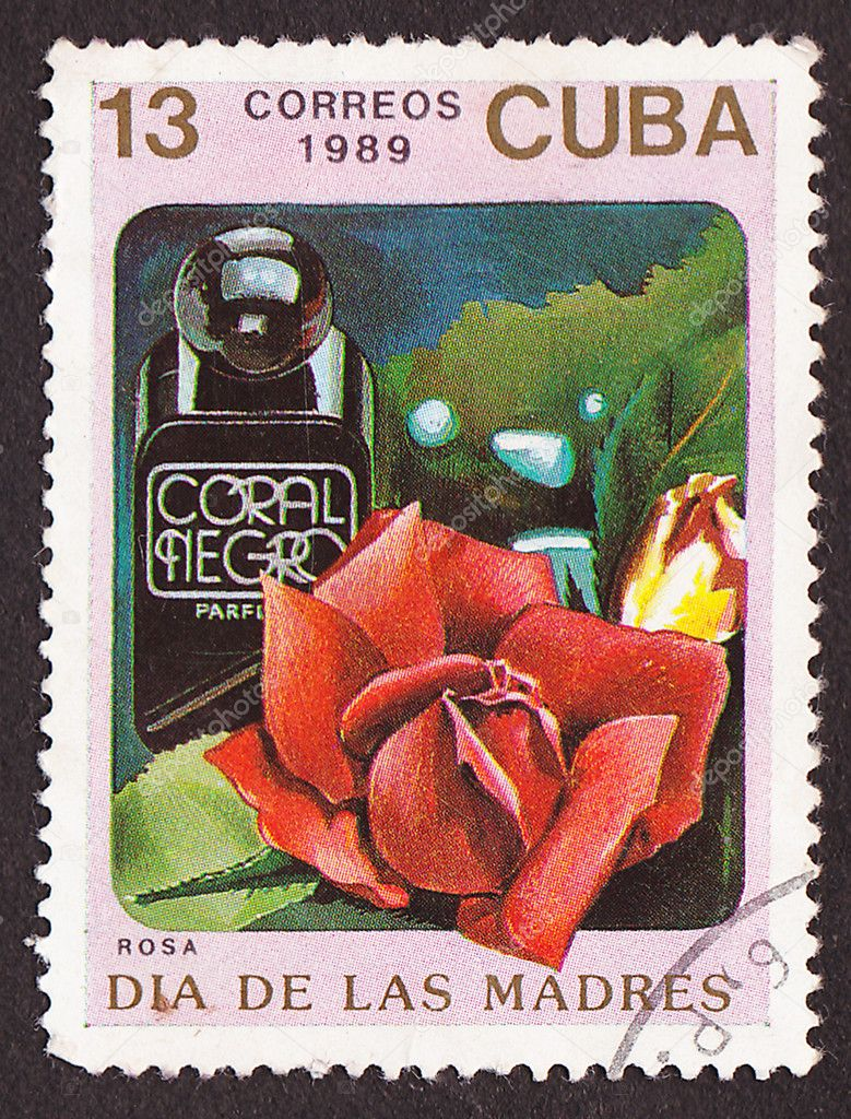 CUBA - CIRCA 1989: A post stamp printed in Cuba divided to Mother&#039;s Day and shows red rose , circa 1989  Stock Photo #10264568
