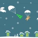 Cartoon Santa in sleight — Stock Vector