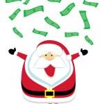 Cartoon Santa catching falling dollar bills — Stock Vector #7988949