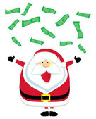 Cartoon Santa catching falling dollar bills — Stock Vector