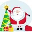Santa with Christmas tree and gifts — Image vectorielle