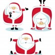 Santa in different positions — Stock Vector