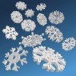 3D Snowflakes — Stock Vector