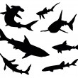 Stock Vector: Sharks silhouettes