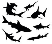 Sharks silhouettes — Stock Vector