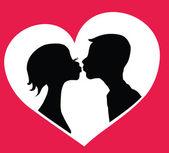 Beso pareja — Vector de stock