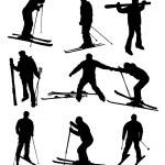 Ski silhouettes set — Stock Vector #9110540