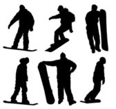 Snowboard silhouettes set — Stock Vector
