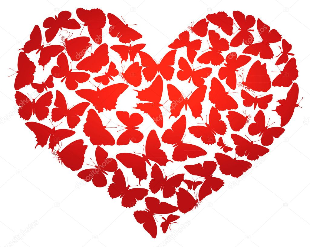 Heart made of  butterflies isolated. Vector eps8 — Stock Vector #9193589