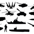 Stock Vector: Military silhouettes set