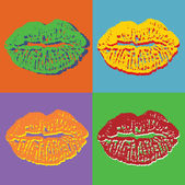 Labios del arte pop — Vector de stock