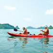 Traveler kayaking in the Gulf of Thailand — Stock Photo