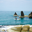 Traveler kayaking in the Gulf of Thailand. — Stock Photo