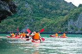 Traveler kayaking — Stock Photo