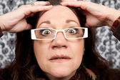 Scared and Startled Woman Close Up — Stock Photo