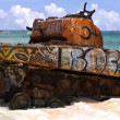 Flamenco Beach Army Tank — Stock Photo #8696996
