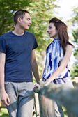 Young Couple Talking — Stock Photo