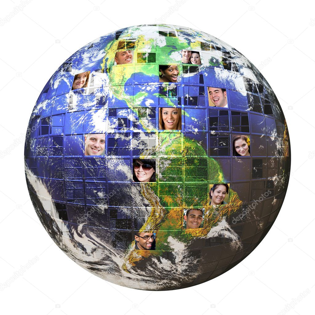 Montage of the earth with a global network of from all walks of life on different continents isolated over white.  Clipping path included. Earth photo co — Stock Photo #8767109