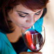 Woman Drinking Red Wine — Stock Photo