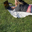 Foto de Stock  : Girl Using Laptop
