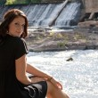 Brunette by the River — Stock Photo