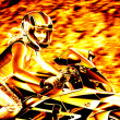 Flaming Biker Girl — Stock Photo