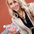 Girl with Bottled Water — Stock Photo #8787608