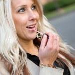 Applying Lip Gloss — Stock Photo #8787611