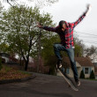 Skateboarder Man Doing an Ollie Jump — Stock Photo