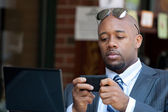 Business Man Working Wirelessly and Mobile — Stock Photo